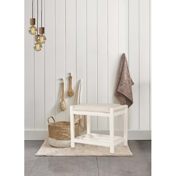 "Hillsdale Furniture Amelia Vanity Stool in White Finish and Ecru Fabric, 21"" W x 14-1/2"" D x 18-1/2"" H"