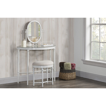 Cape May Bedroom Vanity with Glass Top and Mirror in Matte ...