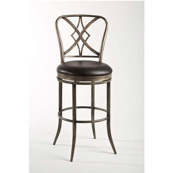 Hillsdale Furniture Jacqueline Swivel Counter Stool, Rubbed Pewter/Black Finish, Balck Vinyl Seat