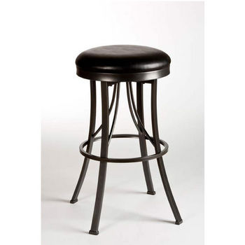 Hillsdale Furniture Ontario Backless Counter Stool, Pewter Finish, Black Vinyl Seat