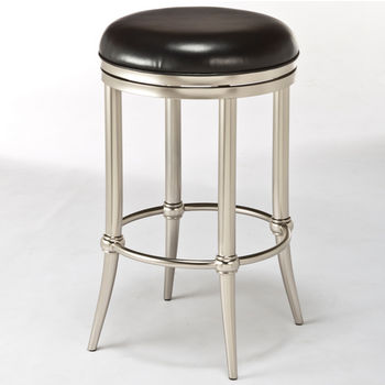 Hillsdale Furniture Cadman Collection Backless Counter Stool in Black/Dull Nickel, 17'' Diameter x 17'' D x 26'' H