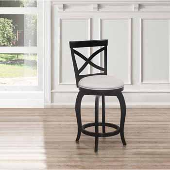 "Hillsdale Furniture Ellendale Swivel Counter Height Stool, Black , 17-1/2""W x 21""D x 39""H"