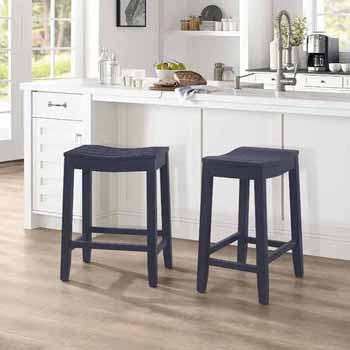 """Hillsdale Furniture Fiddler Backless Wood Counter Height Stool, Navy, 18""""W x 12""""D x 24""""H"""