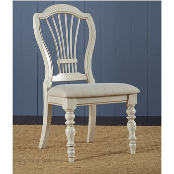 "Hillsdale Furniture Pine Island Wheat Back Side Chair, Set of 2, Old White & Ivory Finish, 23-1/2"" W x 24"" D x 40-1/4"" H"
