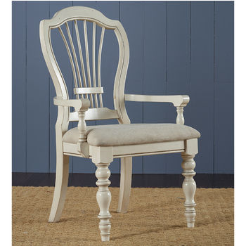 "Hillsdale Furniture Pine Island Wheat Back Arm Chair, Set of 2, Old White & Ivory Finish, 23-5/8"" W x 24-3/4"" D x 42-1/8"" H"