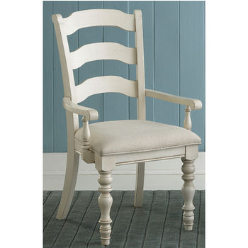 """Hillsdale Furniture Pine Island Ladder Back Arm Chair, Set of 2, Old White & Ivory Finish, 23-1/2"""" W x 24"""" D x 40-1/4"""" H"""