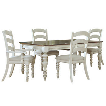 Hillsdale Furniture Pine Island 5-Piece Dining Set, with Ladder Back Chairs, Old White Finish