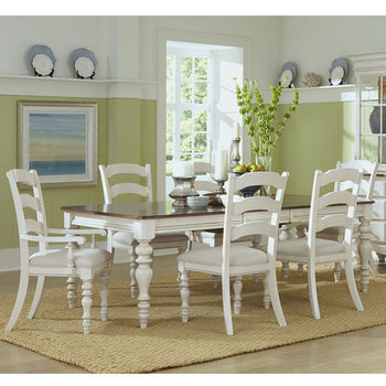 Hillsdale Furniture Pine Island 7-Piece Dining Set, with Ladder Back Chairs, Old White Finish