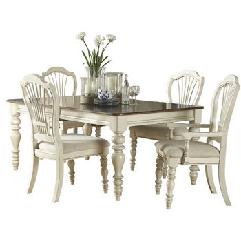 Hillsdale Furniture Pine Island 5-Piece Dining Set, with Wheat Back Chairs, Old White Finish