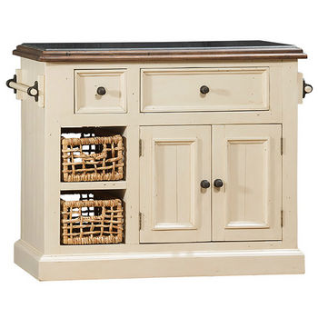 Hillsdale Furniture Tuscan Retreat ® Collection Medium Granite Top Kitchen Island with Two (2) Baskets, Country White Finish with Oxford (Antique Pine) Top