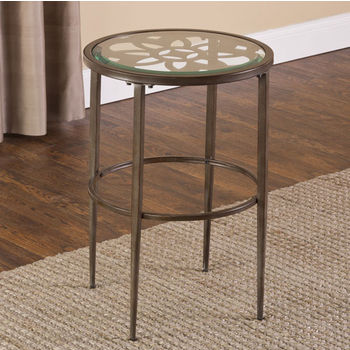 """Hillsdale Furniture Marsala End Table, Gray with Brown Rub Finish, 17-1/4"""" W x 17-1/4"""" D x 24"""" H"""