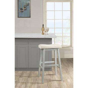Counter Height Stool Blue Gray & Ecru Fabric