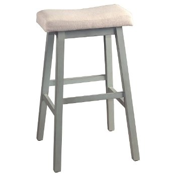 Bar Height Stool Blue Gray & Ecru Fabric