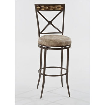 Hillsdale Compton Swivel Counter Stool in Brown with Coconut Shell Panel Top / Weathered Beige PU (Faux Leather), 16-3/4''W x 20-1/2''D x 42-1/8''H