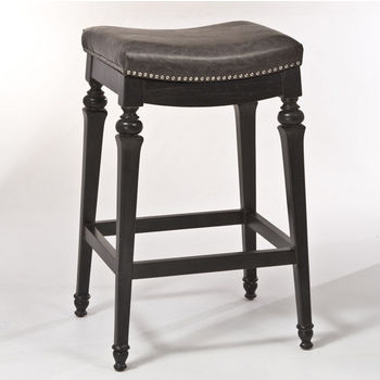 Hillsdale Vetrina Backless Non-Swivel Counter Stool in Black with Gold Rub / Charcoal Faux Leather, 21-1/2''W x 15-1/2''D x 27''H