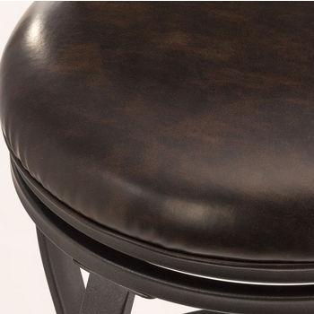 Hillsdale Kirkham Swivel Counter Stool in Black Silver / Dark Brown PU (Faux Leather), 8''W x 20-3/4''D x 42-7/8''H