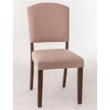 "Hillsdale Furniture Emerson Parson Dining Chair, Set of 2 in Brown Finish and Oyster (Beige) Fabric, 19-3/4"" W x 19"" D x 38-1/2"" H"
