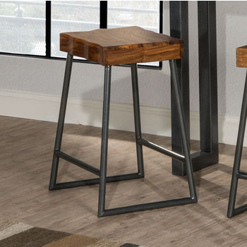 """Hillsdale Furniture Emerson Collection Manufactured Live Edge Square Non-Swivel Backless Counter Stool in Natural Sheesham Wood / Gray Metallic, 17"""" W x 14"""" D x 26"""" H"""