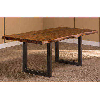 "Hillsdale Furniture Emerson Rectangle Dining Table in Natural Sheesham / Gray Powder Coat, 80"" W x 39"" D x 30"" H"