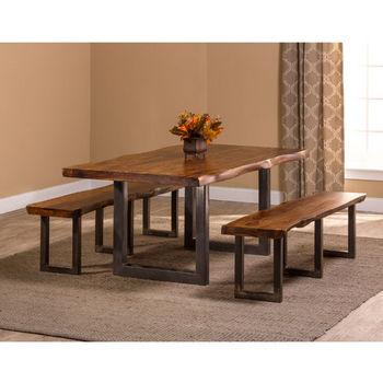 "Hillsdale Furniture Emerson 3-Piece Rectangle Dining Set with (2) Benches in Natural Sheesham / Gray Powder Coat Finish and Gray Fabric, 80"" W x 39"" D x 30"" H"