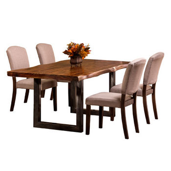 "Hillsdale Furniture Emerson 5-Piece Rectangle Dining Set in Natural Sheesham / Gray Powder Coat / Black Finish and Oyster (Beige) Fabric, 80"" W x 39"" D x 38-1/2"" H"