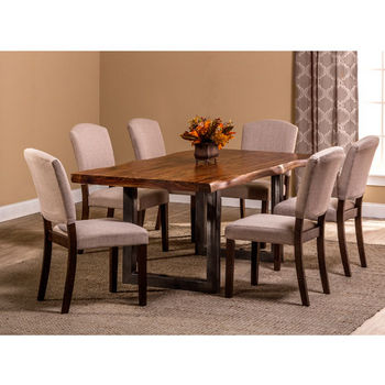 "Hillsdale Furniture Emerson 7-Piece Rectangle Dining Set in Natural Sheesham / Gray Powder Coat / Black Finish and Oyster (Beige) Fabric, 80"" W x 39"" D x 38-1/2"" H"