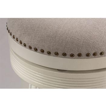 Hillsdale Tillman Backless Swivel Counter Stool in White / Beige Fabric, 18''W x 18''D x 26''H