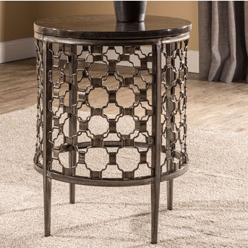 """Hillsdale Furniture Brescello Round End Table in Charcoal / Blue Stone, 18"""" W x 18"""" D x 24"""" H"""