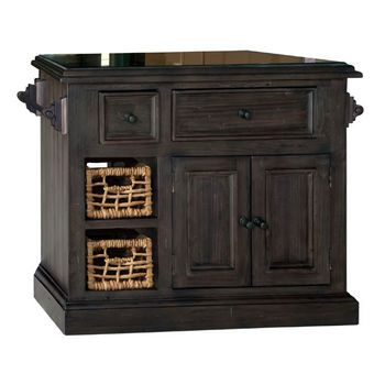Hillsdale Furniture Tuscan Retreat ® Collection Medium Granite Top Kitchen Island with Two (2) Baskets, Weathered Gray Finish