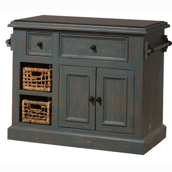 Hillsdale Furniture Tuscan Retreat ® Collection Medium Granite Top Kitchen Island with Two (2) Baskets, Nordic Blue Finish