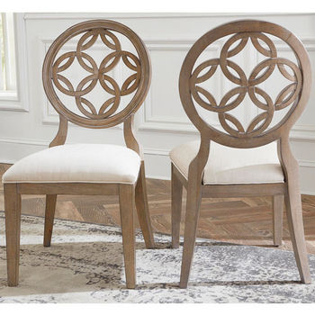 "Hillsdale Furniture Sanona Dining Chair, Set of 2 in Vintage Gray Finish and Putty Fabric, 23"" W x 19"" D x 39-1/2"" H"