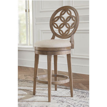 Hillsdale Furniture Savona Swivel Counter or Bar Stool in Vintage Gray Finish and Putty Fabric