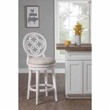 "Hillsdale Furniture Savona Swivel Counter Height Stool, White, 23""W x 18-1/2""D x 44""H"