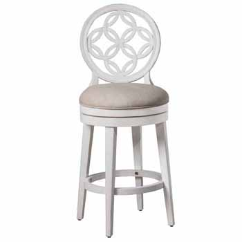 "Hillsdale Furniture Savona Swivel Bar Height Stool, White, 23""W x 19""D x 48""H"