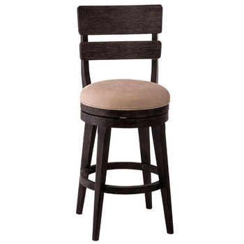 Hillsdale Furniture LeClair Swivel Counter or Bar Stool in Black (Wire Brushed) Finish and Cream Fabric