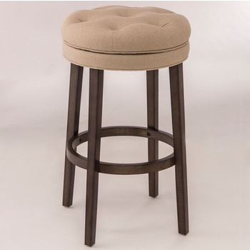 Hillsdale Furniture Krauss Backless Swivel Counter or Bar Stool in Charcoal Gray Finish and Linen Stone Fabric