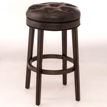 Hillsdale Furniture Krauss Backless Swivel Counter Stool in Charcoal Gray Finish and Gray Faux Leather Fabric