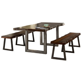 Hillsdale Furniture Emerson 3-Piece Rectangle Dining Table Set with Two (2) Benches, Gray