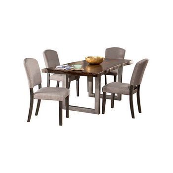 Hillsdale Furniture Emerson 5-Piece Rectangle Dining Table Set with Four (4) Chairs, Gray