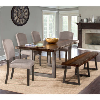 Hillsdale Furniture Emerson 6-Piece Rectangle Dining Table Set with One (1) Bench and Four (4) Chairs, Gray