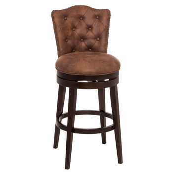 Hillsdale Furniture Edenwood Swivel Counter or Bar Stool in Chocolate Finish and Chestnut PU (Faux Leather) Fabric