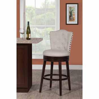 "Hillsdale Furniture Edenwood Swivel Counter Height Stool, Cream Fabric, 19""W x 23""D x 40-3/4""H"