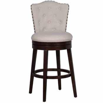 "Hillsdale Furniture Edenwood Swivel Bar Height Stool, Cream Fabric, 19""W x 23""D x 45-1/4""H"
