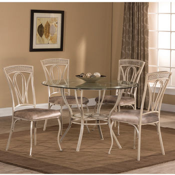 Hillsdale Furniture Napier 5-Piece Round Dining Table Set with Four (4) Chairs, Aged Ivory & Taupe PU Faux Leather
