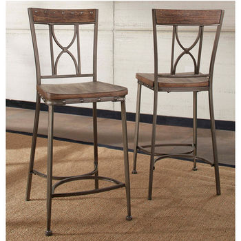 Hillsdale Furniture Paddock Non-Swivel Counter Height Stool, Set of 2, Brushed Steel Metal & Distressed Brown-Gray Finished Wood