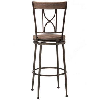 Hillsdale Furniture Paddock Swivel Stool, Brushed Steel Metal & Distressed Brown-Gray Finished Wood