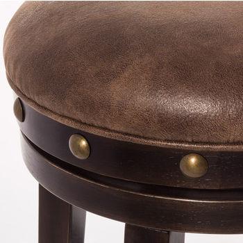 Hillsdale Furniture Benard Backless Stool, Deep Smoke Brown Frame with Brown Fabric Seat