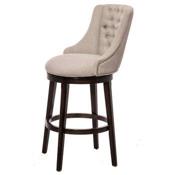 Hillsdale Furniture Halbrooke Swivel Stool, Smoke Frame with Cream Fabric Seat