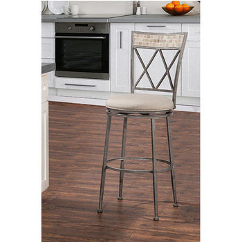 Hillsdale Milestone Indoor / Outdoor Swivel Stool, Aged Pewter Finish