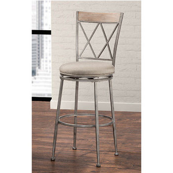 Hillsdale Stewart Indoor / Outdoor Swivel Stool, Aged Pewter Finish